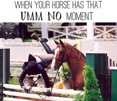 """Equestrian problems - LOL the horse in this picture is just like """"See ya!"""""""