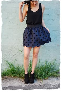 an easy scallop hem. tho i could never swing the legs to wear it that short. maybe a top hem ;)