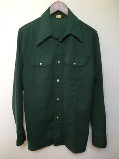 1970s green polyester western shirt forest by twinflamesboutique