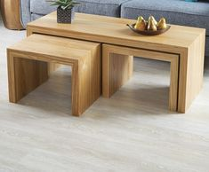 Nesting Tables: As Stunning as They Are Sturdy, Thanks to Our Simple Grain-Wrapping Technique — Wood Modern Wooden Furniture, Wooden Living Room Furniture, Simple Furniture, Diy Furniture, Furniture Design, Wooden Table Diy, Wood Nesting Tables, Wooden Decor, Wooden Home