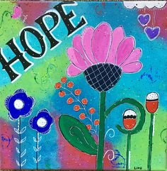 Inspirational Canvas - Flower of Hope -- Vivid Colors by SeeSkyDesigns on Etsy