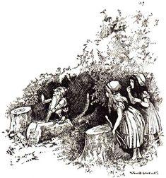 This illustration came from:    Grimm, Jacob and Wilhelm. Grimm's Fairy Tales. John B. Gruelle, illustrator. Margaret Hunt, translator. New York: Cupples & Leon, 1914.