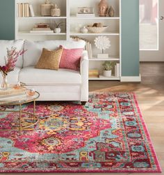 Willa Arlo Interiors Aliyah Pink Area Rug Rug Size: Rectangle x Colourful Living Room, Rugs In Living Room, Living Room Decor, Red Living Rooms, Cool Living Room Ideas, Pastel Living Room, Room Rugs, Area Rugs, Deco Boheme