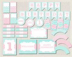 Aqua and Pink Printable Party Package Pink by PixiePerfectParties Pink First Birthday, 1st Birthday Themes, 1st Birthday Parties, Girl Birthday, Party Packs, For Your Party, Party Printables, Birthday Invitations, Pink Girl