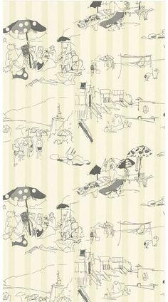 the art of wallpaper - beach toile wallpaper 01