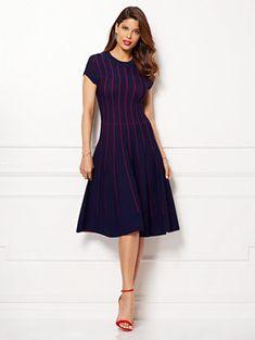 Eva Mendes Collection - Phoebe Sweater Dress - Stripe - Petite - New York & Company Dress Me Up, New Dress, Spring Fashion, Autumn Fashion, Eva Mendes Collection, Office Fashion, Striped Dress, Chic Outfits, Wrap Dress