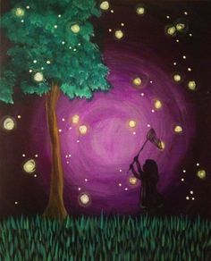 Catching Fireflies -Black Light Painting! The ultimate party in our City Scape Room! -Saturday, May 27th from 7-9PM -Book Here: https://www.pinotspalette.com/york/event/162620 -A nostalgic painting of a little girl catching fireflies.