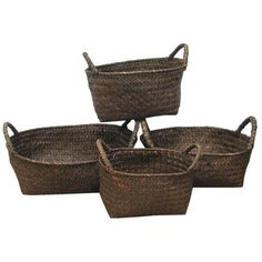 $11 Dark Brown Straw Basket Set