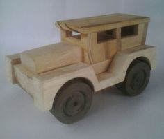 Hand crafted wooden toy car self made