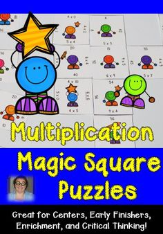 These multiplication Magic Square Puzzles are great for 3rd, 4th, and 5th grade students! Use them for centers, early or fast finishers, enrichment, review, or critical thinking skills. These low prep games are differentiated to best fit the needs of everyone in your classroom! Click through to get your copy today! $