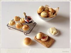 Butter And Jam Buns Dollhouse Miniature Food by 2smartminiatures