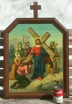 Antique 19th c. 8th STATION of the CROSS MAHOGANY WOOD FRAME ~ Leiber Lithograph