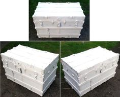 Antique Steamer Trunk All White.