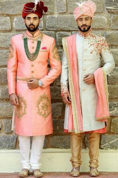 Peach & Green sherwani by Samyakk Sherwani For Men Wedding, Wedding Dresses Men Indian, Sherwani Groom, Wedding Dress Men, Wedding Suits, Punjabi Wedding, Indian Weddings, Wedding Couples, Mens Wedding Wear Indian