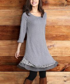 Another great find on #zulily! Gray Cable-Knit Lace-Trim Dress by Reborn Collection #zulilyfinds