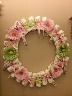 DIY diaper wreath baby girl