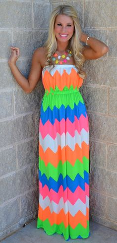 Follow My Beat Neon Chevron Maxi