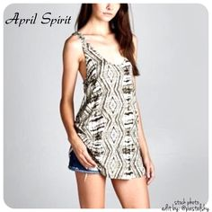 """APRIL SPIRIT tank NEW with tags, never worn and in excellent condition.   details ∙ medium // runs big ∙ 29.6"""" length ∙ 18.5"""" bust  material ∙ 95% rayon ∙ 5% spandex  please don't hesitate to ask questions. happy POSHing    use offer feature to negotiate price on single item  i do not trade or take any transactions off poshmark April Spirit Tops Tank Tops"""
