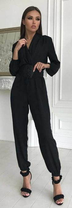 #winter #outfits black jump suit