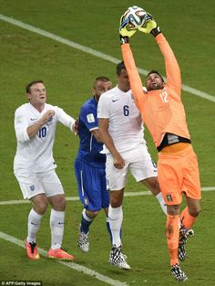 FIFA World Cup 2014 - Clean collect: Salvatore Sirigu gathers the ball from a corner under pressure from Phil Jagielka and Wayne Rooney