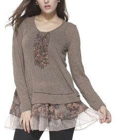 Look at this Brown Floral Embellished Scoop Neck Tunic on #zulily today!