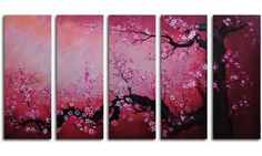 Cochineal Black Trunked Cherry 5-Piece Canvas Wall Art - 60W x 32H in. - Wall Art at Hayneedle