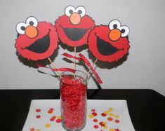 Elmo 4pc centerpiece Elmo birthday party door InspiredbyLilyMarie