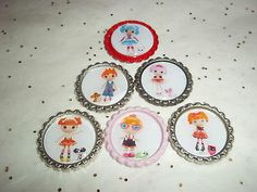 6-LALALOOPSY BOTTLE CAP CHARMS FOR NECKLACES, SCRAPBOOKS, JEWELRY, BOWS