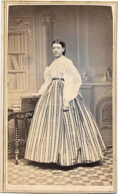 Vintage 1870's CDV Photo Victorian Woman Girl Hoop Dress from Quebec CANADA