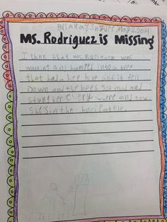 """This activity will forever be in my """"Sub Tub"""". Students loved it & it was amusing to read what they wrote when I returned back to work... Sub reads to them the book Miss Nelson Is Missing & then they write why you're missing & they draw a missing person's poster"""