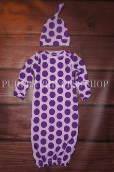 Girls newborn Gown Knit polka dots preemie gown fold over mitts Purple Princess Shop by MyPurplePrincessShop on Etsy https://www.etsy.com/listing/176903415/girls-newborn-gown-knit-polka-dots