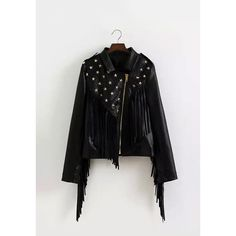 Yoins Stud Leather Biker Jacket with Fringe ($60) ❤ liked on Polyvore featuring outerwear, jackets, black, rider jacket, biker jackets, shiny jacket, fringed biker jacket and fringe jackets