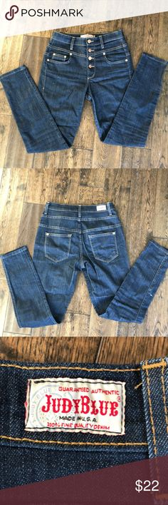 """Judy blue ModCloth crop denim jeans 3 dark blue Vintage pinup look but most of all comfortable. 26 waist 10"""" rise and 27"""" inseam good condition Modcloth Jeans Ankle & Cropped"""