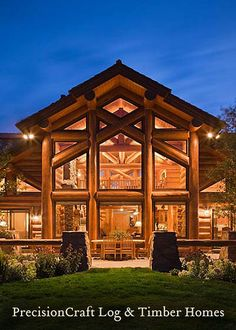 PrecisionCraft Log Homes | Handcrafted Log Home | Back Elevation View by PrecisionCraft Log Homes & Timber Frame, via Flickr