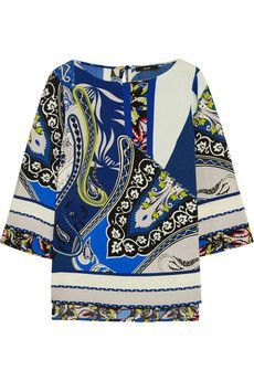 Etro Printed wool-crepe top | NET-A-PORTER