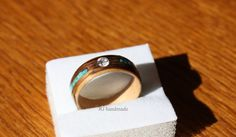 Wooden Engagement Ring - Maple and Walnut with Zirconia & Turquoise on Etsy, $73.13 CAD