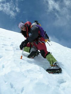 Gerlinde Kaltenbrunner on her way to the summit of K2.