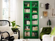 IKEA offers everything from living room furniture to mattresses and bedroom furniture so that you can design your life at home. Check out our furniture and home furnishings! Green Bookshelves, Green Shelves, Ikea Bookcase, Book Shelves, Ikea Shelves, Narrow Bookshelf, Ikea Billi, Home Living, Living Spaces