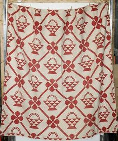 Red and white basket quilt.