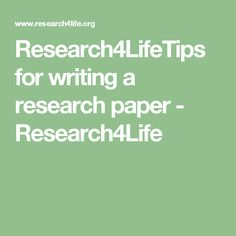 Research4LifeTips for writing a research paper - Research4Life