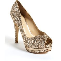 Pelle Moda Whitley Glitter Platform Pumps (240 NZD) found on Polyvore