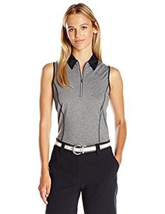 Image result for PGA TOUR Women s Sleeveless Sunflux Heather 1 4 Zip Polo  with Caviar f6e621362