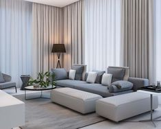 Simple Modern Apartment with Pastel Colors Looks So Cozy modernes Wohnzimmer mit Pastellfarben Classy Living Room, Cozy Living Rooms, Living Room Modern, Living Room Designs, Living Room Decor, Simple Living, Modern Living Room Curtains, Bedroom Curtains, Modern Bedrooms