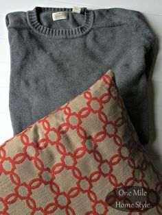Thrift Store Sweater Turned Cozy Pillow