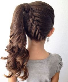 Lovely Kids Hairstyles: 15 Easy and Cute Hairstyles For Kids… www.wowhairstyles… The post Kids Hairstyles: 15 Easy and Cute Hairstyles For Kids… www. Little Girl Braid Hairstyles, Little Girl Braids, Braided Ponytail Hairstyles, Dance Hairstyles, Flower Girl Hairstyles, Girls Braids, Braid Ponytail, Hair Updo, Children Hairstyles