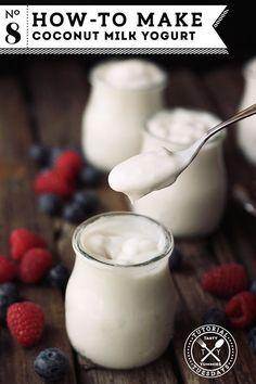 How-to Make Coconut Milk Yogurt | Tasty Yummies Healthy Recipes Dairy Free Recipes, Paleo Recipes, Whole Food Recipes, Cooking Recipes, Gluten Free, Cooking Bacon, Yogurt Recipes, Cooking Wine, Recipes Dinner