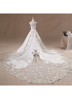 ウェディングドレス Aライン ビスチェ チャペルトレーン 豪華なカットレース 挙式 ブライダル 結婚式 B14TB0083