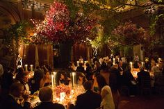 The New York Public Library's annual fall fund-raiser tends to incorporate fall foliage into its design, and 2014's event was no exception. Held in early November, the benefit had forest-inspired laurel branches from David Monn.  Photo: Julie Stapen