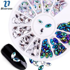 Blueness Marquise Design Acrylic Nails Accessories Manicure Wheel Horse Eye Rhinestones Decorations For Charms 3D Nail Art ZP074