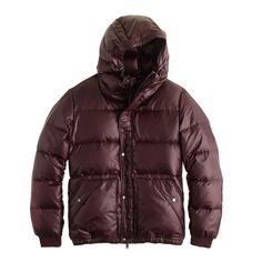 J.Crew men's hooded puffer jacket in vintage merlot.